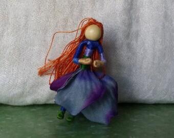 2 inch mini Flower Fairy, Art Doll, 2 inch doll, Waldorf, Art Doll, Worry Doll