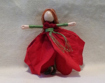 Christmas Fairy - Red, green Poinsettia Art Doll, bendy doll, ornament, worry doll