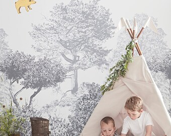 Hua Trees Mural Grey