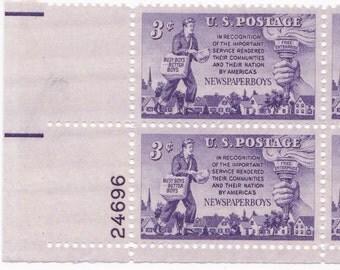 1952 Scott No 1015 Newspaper Boy US Postage Stamp Block 24696