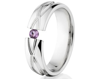 Tension Set Ring, 6mm, Uniquely You, Infinity, Amethyst, 6HR-T8-Infinity