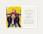 Letterpress Save the Date Photo Card- Calligraphy,Traditional, Elegant, Simple, Classic, Custom, Formal, Destination