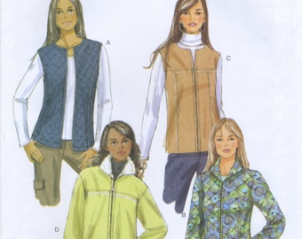 Quilted or Shearling Jacket or Vest Sewing Pattern Size XS S M Butterick B5683, Uncut, Unlined, Loose Fitting, Zipper Front, Easy