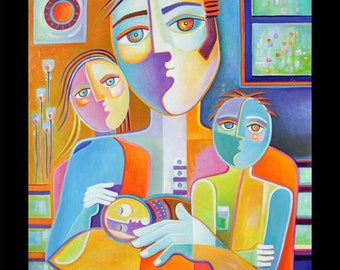 Cubist Painting Original Oil Modern Art Father Marlina Vera Figurative Contemporary Artwork sale Picasso Style Pop Fauvism Père Peinture