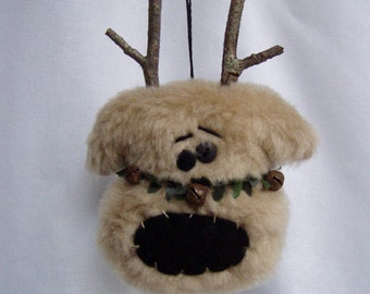 Primitive Reindeer Ornament or Gift Tag