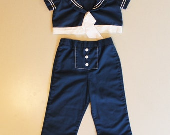 Vintage Jeff Richards 1970s Navy Blue and White Young Girl's Sailor Suit Outfit