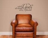 With God All Things are Possible decal, Matthew 19 26 verse, Bible wall decal, religious wall art, Bible verse art, scripture decal (W03156)