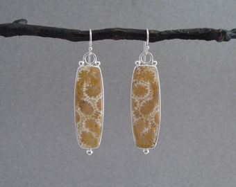 Fossilized Sponge Coral Earrings in Sterling Silver, Long Dangle Earrings