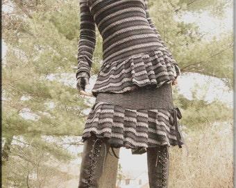 Steampunk - Bohemian - Tunic - Shirt - Burning Man - Black Strips - Top - Playa Wear - Goth Fashion - Women Clothing - Gypsy - Size X- Small