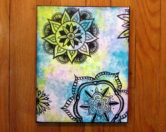 """Tie-dye and Mandalas Acrylic/Ink Canvas Painting, 8x10"""" Wall Decor"""