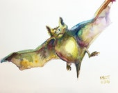 Day 28 - Signed Print - Daily Watercolor - A Batty Bat for Leah -  One of 366 days of watercolor paintings and/or ink drawings