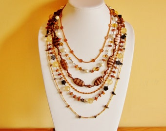 Reclaimed statement necklace,  brown necklace,big chunky necklace, big bold necklace, earthy necklace, large necklace, oversized jewelry