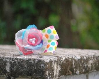 Easter Flower Hair Clip or Headband. Polka Dot Pink Ivory Aqua Purple Bow. Spring Birthday Baby Newborn Toddler Girl Photo Prop Hairbow Band