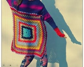 Upcycled Handknit Crochet Oversized Sweater Multicolored                      Made in England UK