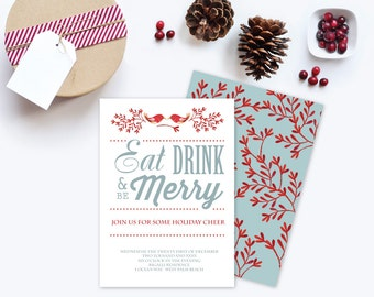 DIY Holiday Invitation ~ Editable Text MS Word Template Winter Eat Drink Be  Merry Printable Instant