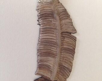 Eagle Feather Pendant - Clay Art Jewelry - OOAK