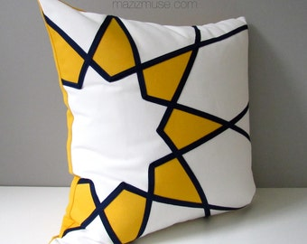 Yellow & Blue Outdoor Pillow Cover, Modern Pillow Case, Decorative Art Deco Star Throw Pillow Cover, Navy Sunbrella Cushion Cover, Mazizmuse