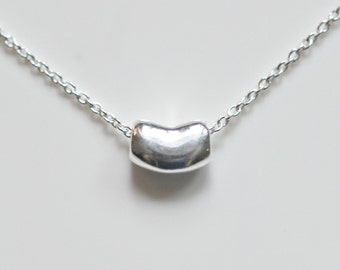 Sterling silver bean necklace, mini bean, little bean, baby bean, jelly bean, gift for her, classic, simple necklace, Lisa mini