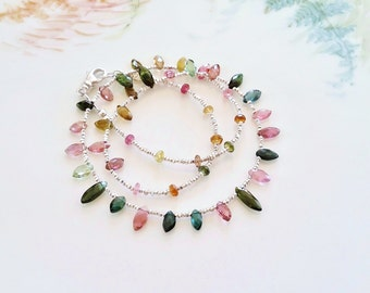 Multi Color Marquise Tourmaline Necklace with Thai Hill Tribe Silver