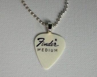 Fender Medium Guitar Pick Pendant - Unique Musician's Necklace - Vintage 1970s