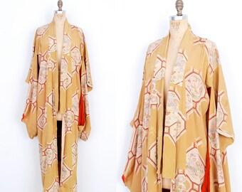 Vintage 1930s Kimono / 30s Honeycomb Floral Print Silk Robe / Gold ( S M L )