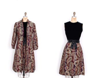 Vintage 1960s Dress Set / 60s Tapestry and Velvet Dress and Jacket / Burgundy (small S)