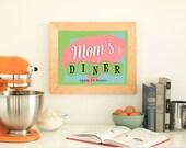 Kitchen Art, Mom's Diner Kitchen Print - PRINTABLE Instant Download, Kitchen Decor, Retro Kitchen Art, Fifties Diner Sign, 3 Sizes