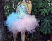 Cotton Candy Mini-Length Tutu - Adult Tutu - Women's One Size - Pink and Blue - Lolita