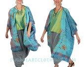 SunHeart vintage EMBROIDERED SILK RUANA Boho Hippie Chic Goddess Garments Resort Evening