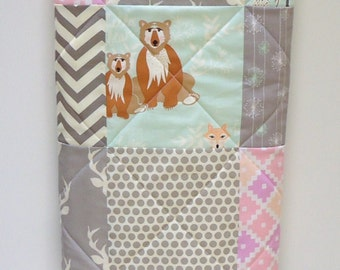 Baby Girl Quilt-Modern Hello Bear-Woodland Organic Birch Fabric-Mint Gray Grey Pink-Art Gallery Fabric-Aztec