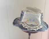 Handmade Upcycled Brimmed Hat RESERVED FOR J