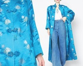Vintage Chinese Embroidered Jacket Quilted Asian Jacket Silky Floral Brocade Jacket Turquoise Long Coat Vintage Blue Kimono (S/M)