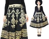 Vintage Cotton Circle Skirt Sequined Skirt Black and Tan Printed Cotton Skirt Boho Hippie Full Skirt High Waist Skirt Knee Length  (M)