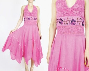 Vintage 1970s Floral Embroidered Dress Boho Crochet Lace Dress Gauze Cotton Pink Halter Neck Dress Handkerchief Hem Full Skirt (M) E1079