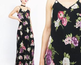 90s Grunge Beaded Floral Evening Dress Boho Indian Rayon Dress Black Floral Print Evening Gown Bias Cut Dress Sheer Slip Dress (M) E750