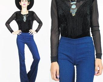 80s 90s Black Velvet Bodysuit Sheer Sleeves Stretch Crushed Velvet Leotard Embroidered Mesh Long Sleeve Bodysuit Snap Crotch Onesie E118
