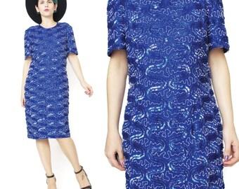 25% OFF SALE 1980s Silk Sequin Dress Blue Sequin Party Dress Royal Blue Short Sleeve Dress Glam Vintage Fully Sequined Beaded Dress (L)
