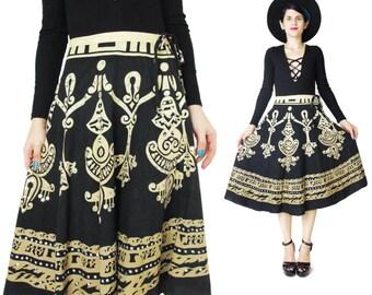Vintage Cotton Circle Skirt Sequined Skirt Black and Tan Printed Cotton Skirt Boho Hippie Full Skirt High Waist Skirt Knee Length M E471