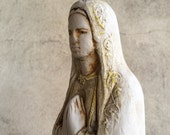 "Vintage 12"" chalkware Virgin Mary statue eroded by nature, chalk ware home altar saint Mother Mary, Old World rustic French country decor"