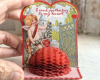 Vintage honeycomb 3 x 5 embossed Valentine's Day Card, 1930s Made in USA cupid Valentine key to my heart card, unsigned vintage Valentine