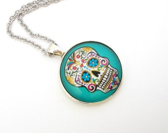 Sugar Skull Necklace, Blue Sugar Skull Pendant, Sugar Skull Jewelry, 18 inch Necklace, Day of the Dead Jewelry, Dia De Los Muertos,