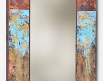 37 x 19 Copper and Metal Mirror