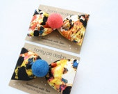 Ludlow St. Bow with Felt Ball - Soho Style - Graffiti Fabric - Holiday Fashion- Girls Hair Clip - Stocking Stuffer - Ready to Ship