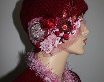 Women's hat, Bohemian Burgundy Alpaca Hand Knitted   hat  - Winter Accessories - Wearable Art