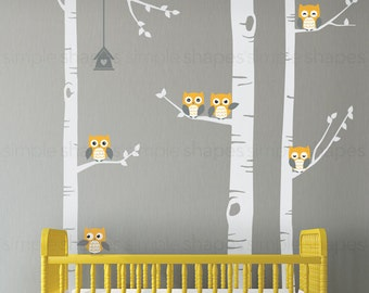 Birch Tree Wall Decal, Birch Tree With Owls Wall Sticker Set, Birch Tree Decal, Baby Nursery Wall Stickers W1118