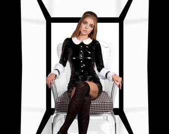 Couture High Pleated cuffs/Black and white cuffs/Detachable cuffs/ Japanesse fashion/ Ruffled cuffs/ Ruffled detailed cuffs/ rusteam tt team