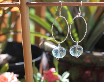 Blue Quartz and Sterling Earrings