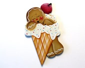 Ginger Sleeping in Ice Cream Cone Ornament or Fridge Magnet, Handpainted Wood Gingerbread