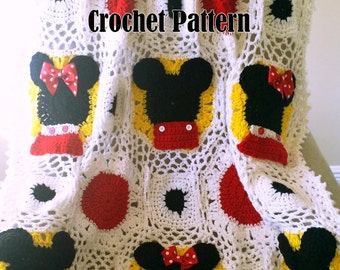 Mic and Min Mousie Afghan  Crochet Pattern PDF - INSTANT DOWNLOAD