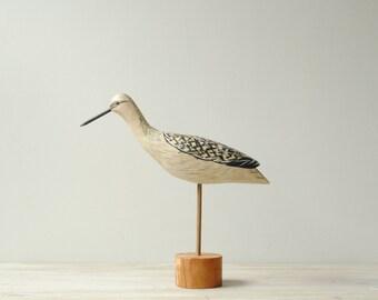 Vintage Shore Bird Figure, Hand Painted Handmade Bird Decoy